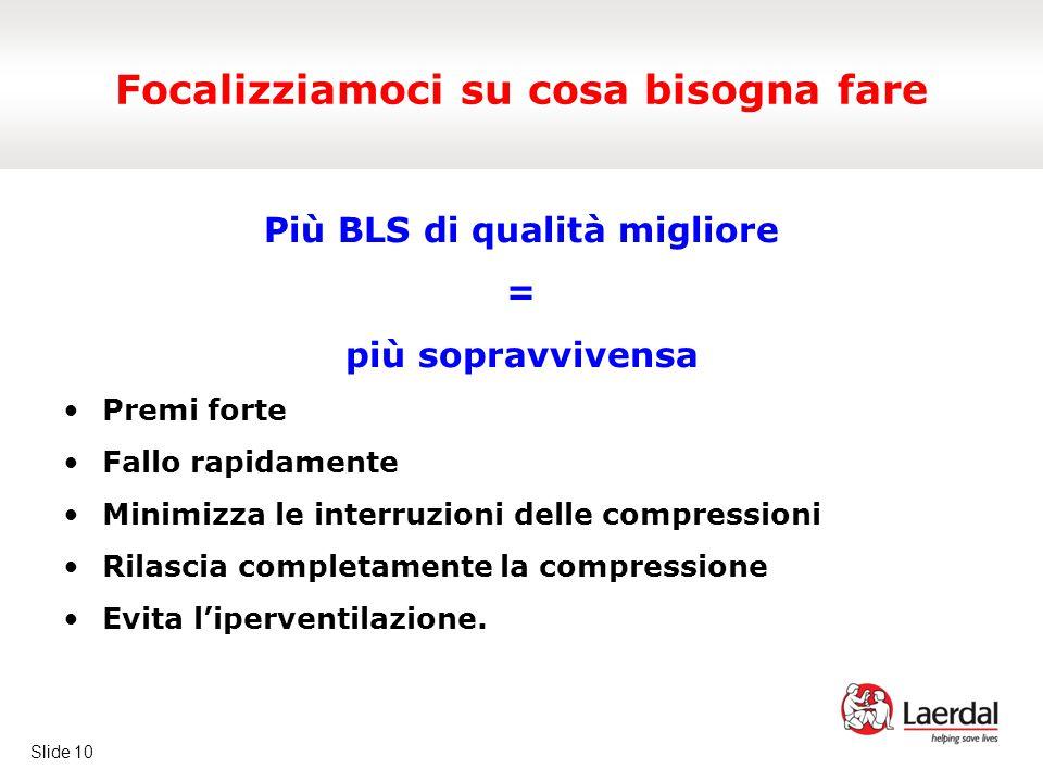 Slide 10 Focalizziamoci su cosa bisogna fare Più BLS di qualità migliore = più sopravvivensa Premi forte Fallo rapidamente Minimizza le interruzioni delle compressioni Rilascia completamente la compressione Evita l'iperventilazione.