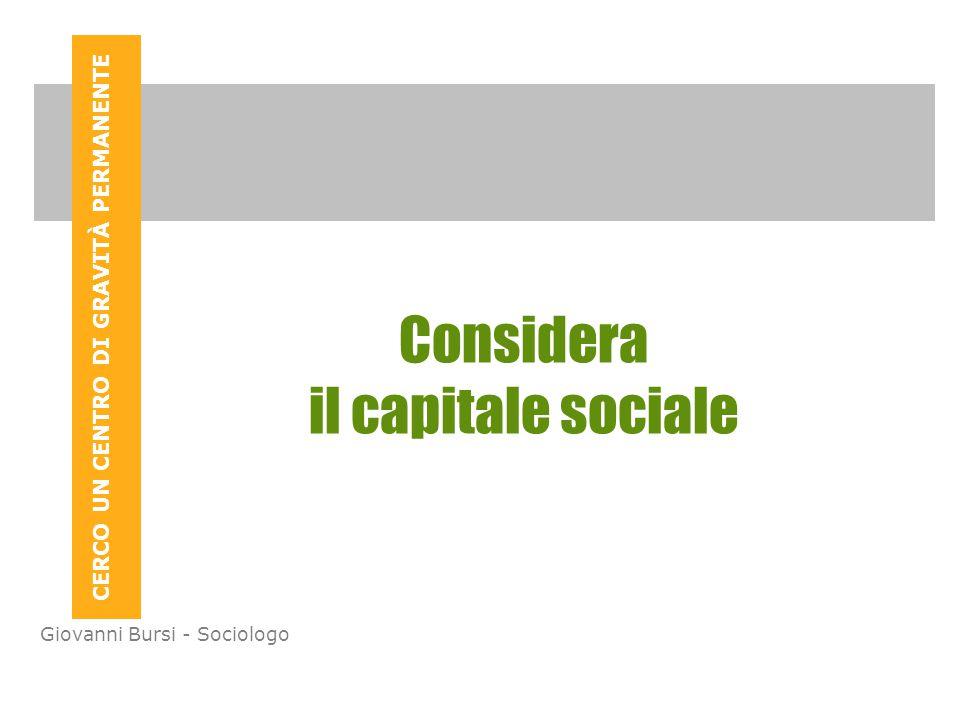 CERCO UN CENTRO DI GRAVITÀ PERMANENTE Giovanni Bursi - Sociologo Considera il capitale sociale