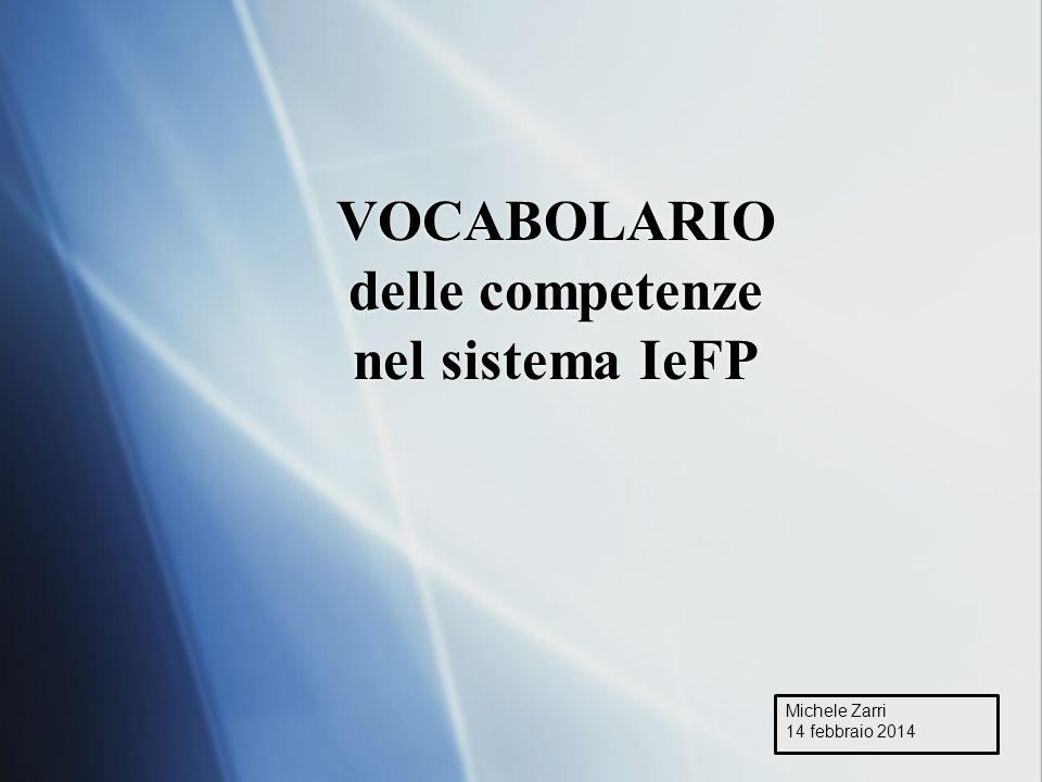 VOCABOLARIO delle competenze nel sistema IeFP Michele Zarri 14 febbraio 2014