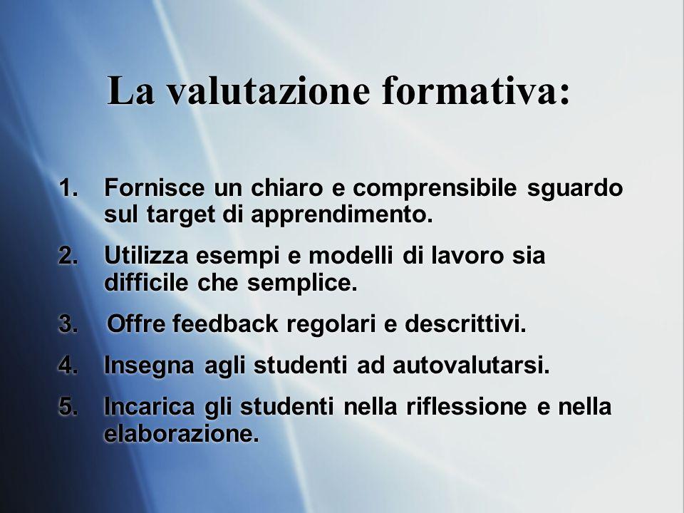 La valutazione formativa: 1.Fornisce un chiaro e comprensibile sguardo sul target di apprendimento.
