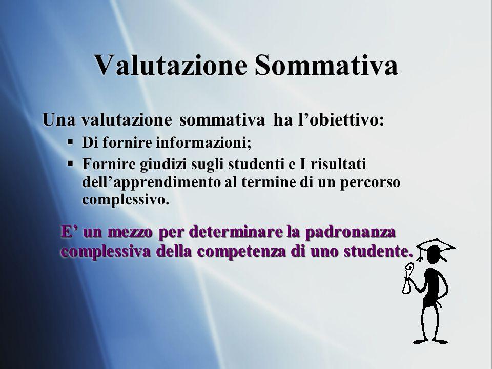Valutazione Sommativa Una valutazione sommativa ha l'obiettivo:  Di fornire informazioni;  Fornire giudizi sugli studenti e I risultati dell'apprendimento al termine di un percorso complessivo.