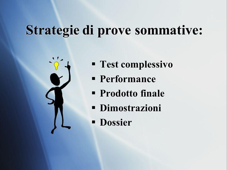 Strategie di prove sommative:  Test complessivo  Performance  Prodotto finale  Dimostrazioni  Dossier  Test complessivo  Performance  Prodotto finale  Dimostrazioni  Dossier