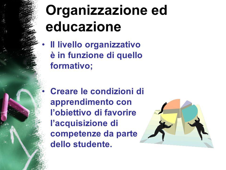 Organizzazione ed educazione Il livello organizzativo è in funzione di quello formativo; Creare le condizioni di apprendimento con l'obiettivo di favorire l'acquisizione di competenze da parte dello studente.