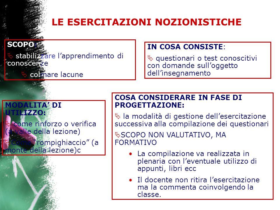 LE ESERCITAZIONI NOZIONISTICHE SCOPO:  stabilizzare l'apprendimento di conoscenze  colmare lacune IN COSA CONSISTE:  questionari o test conoscitivi con domande sull'oggetto dell'insegnamento MODALITA' DI UTILIZZO:  come rinforzo o verifica (a valle della lezione)  Come rompighiaccio (a monte della lezione)c COSA CONSIDERARE IN FASE DI PROGETTAZIONE:  la modalità di gestione dell'esercitazione successiva alla compilazione dei questionari  SCOPO NON VALUTATIVO, MA FORMATIVO La compilazione va realizzata in plenaria con l'eventuale utilizzo di appunti, libri ecc Il docente non ritira l'esercitazione ma la commenta coinvolgendo la classe.