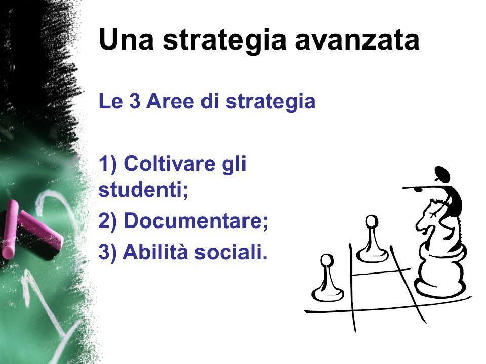 Una strategia avanzata Le 3 Aree di strategia 1) Coltivare gli studenti; 2) Documentare; 3) Abilità sociali.