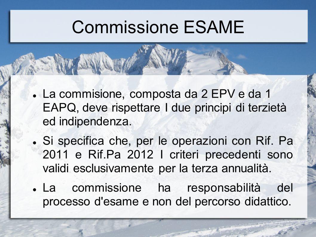 Commissione ESAME La commisione, composta da 2 EPV e da 1 EAPQ, deve rispettare I due principi di terzietà ed indipendenza. Si specifica che, per le o