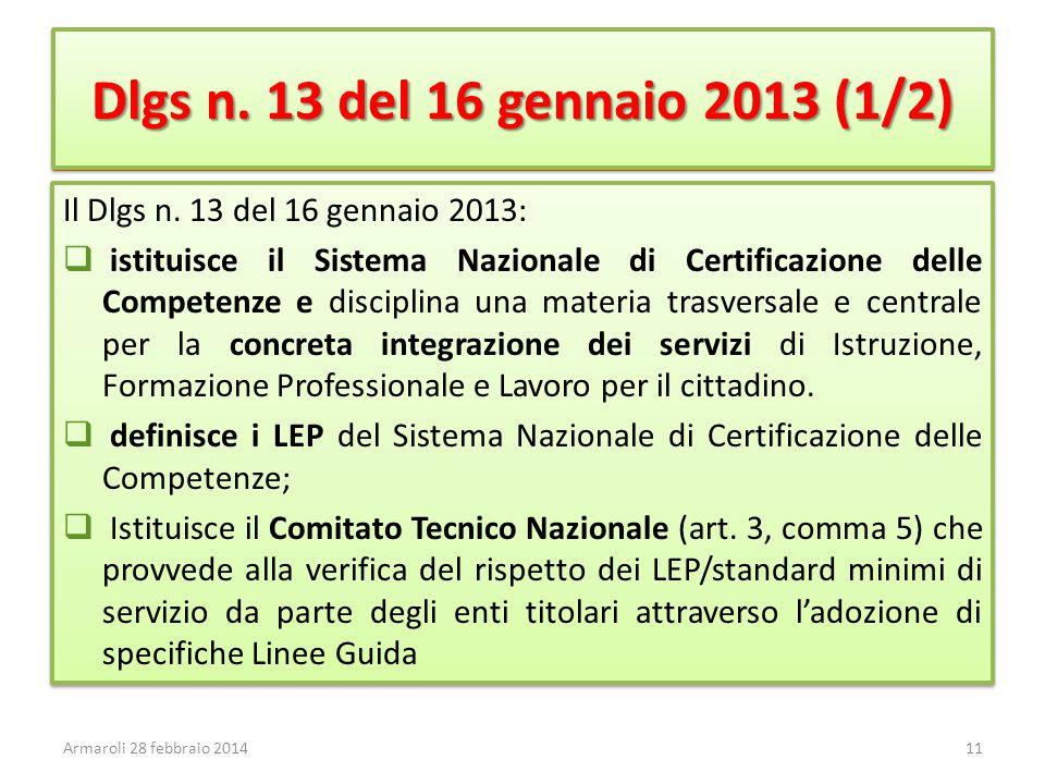 Dlgs n. 13 del 16 gennaio 2013 (1/2) Il Dlgs n. 13 del 16 gennaio 2013:  istituisce il Sistema Nazionale di Certificazione delle Competenze e discipl