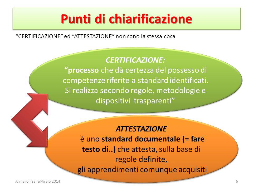 Punti di chiarificazione CERTIFICAZIONE: processo che dà certezza del possesso di competenze riferite a standard identificati.