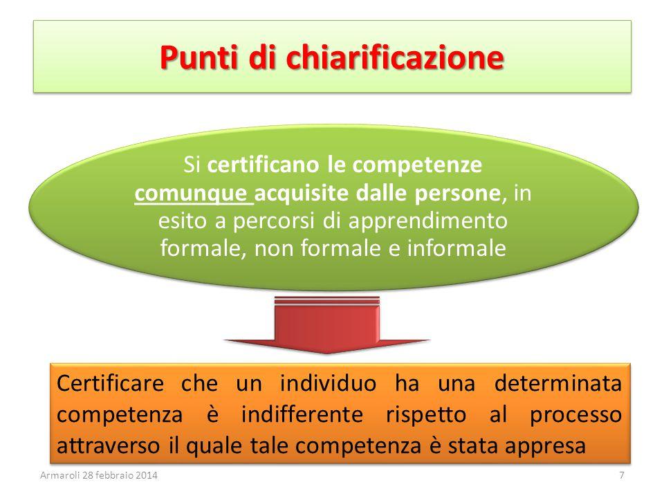 Punti di chiarificazione Si certificano le competenze comunque acquisite dalle persone, in esito a percorsi di apprendimento formale, non formale e in