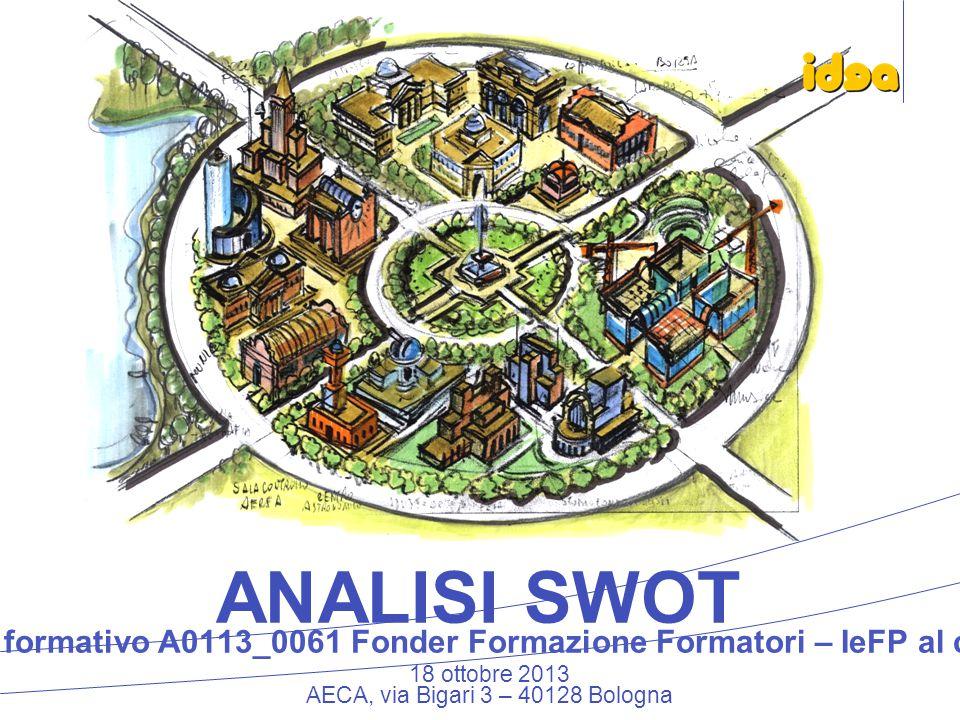 18 ottobre 2013 AECA, via Bigari 3 – 40128 Bologna ANALISI SWOT Piano formativo A0113_0061 Fonder Formazione Formatori – IeFP al centro