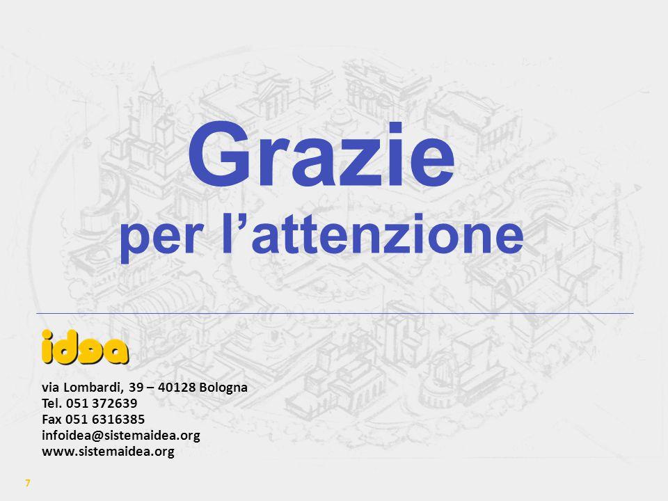 7 Grazie per l'attenzione via Lombardi, 39 – 40128 Bologna Tel.