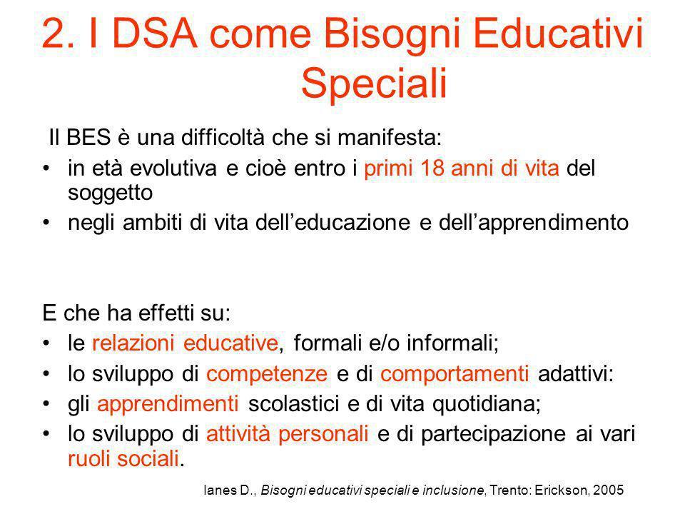 2. I DSA come Bisogni Educativi Speciali Il BES è una difficoltà che si manifesta: in età evolutiva e cioè entro i primi 18 anni di vita del soggetto