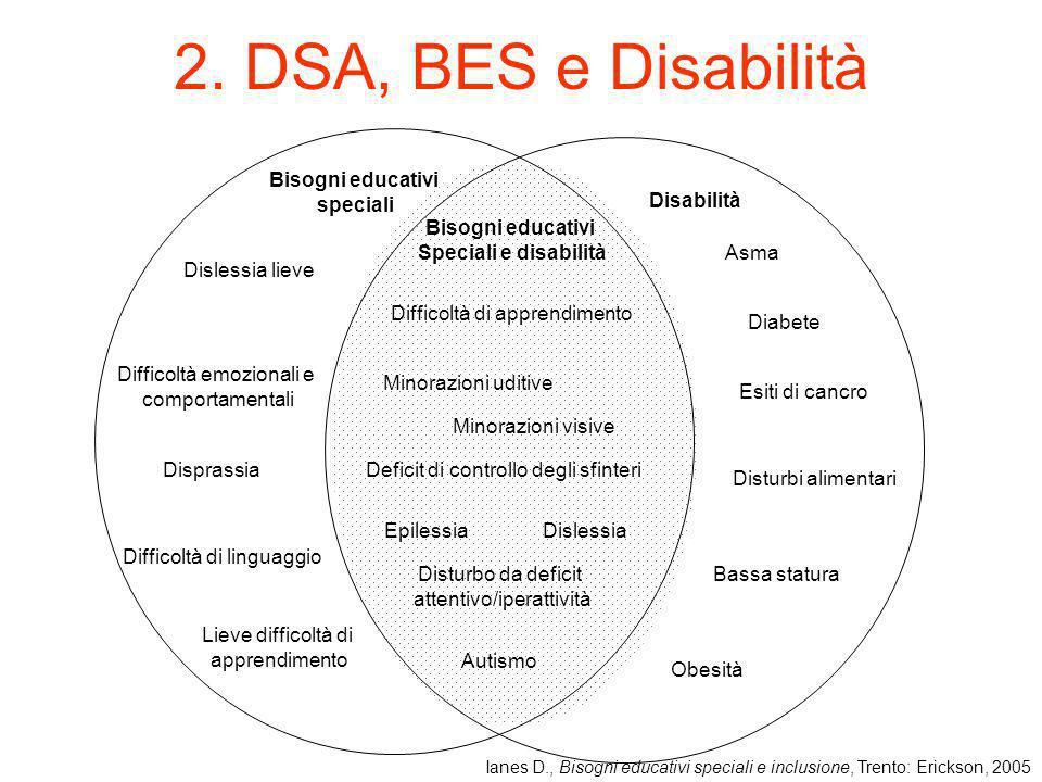 2. DSA, BES e Disabilità Bisogni educativi speciali Difficoltà di linguaggio Dislessia lieve Difficoltà emozionali e comportamentali Disprassia Lieve