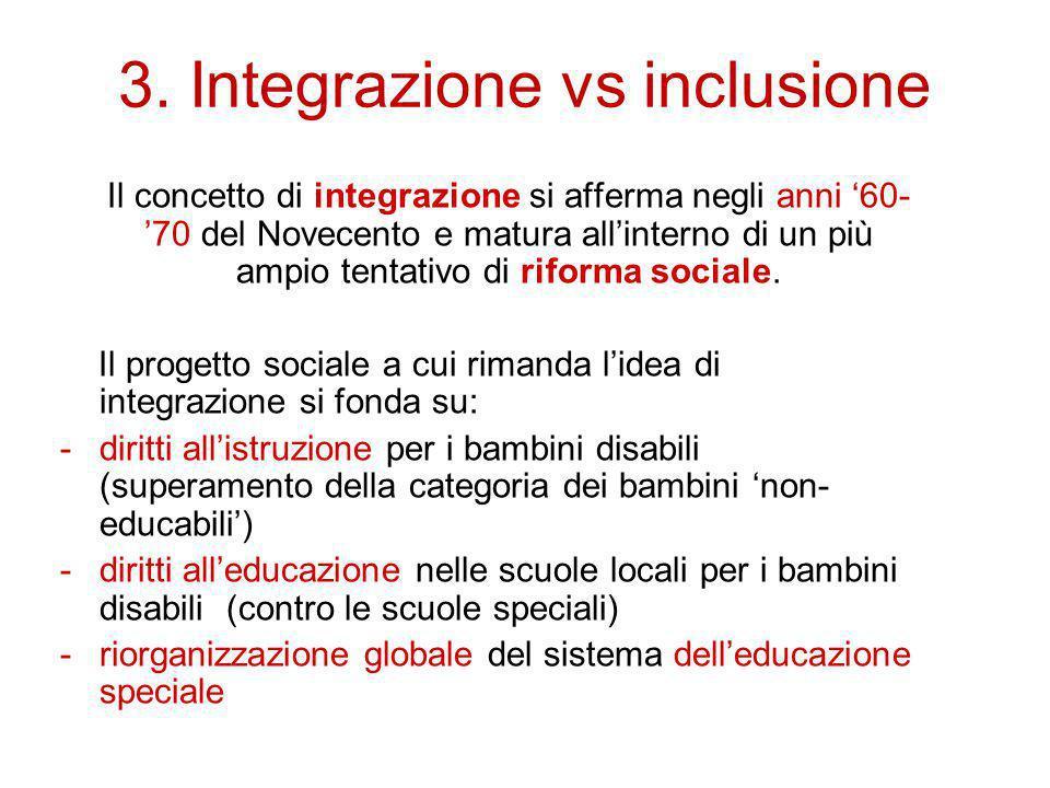 3. Integrazione vs inclusione Il concetto di integrazione si afferma negli anni '60- '70 del Novecento e matura all'interno di un più ampio tentativo