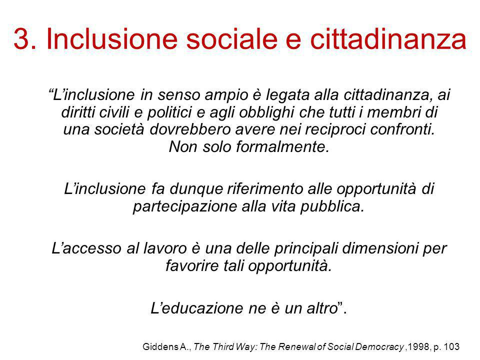 """3. Inclusione sociale e cittadinanza """"L'inclusione in senso ampio è legata alla cittadinanza, ai diritti civili e politici e agli obblighi che tutti i"""