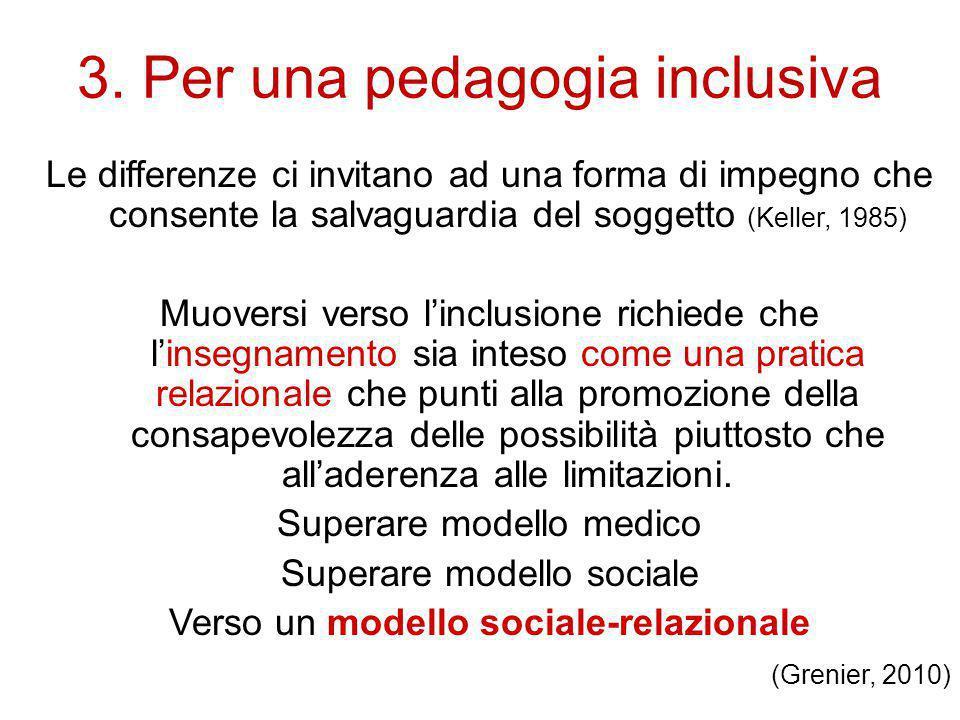 3. Per una pedagogia inclusiva Le differenze ci invitano ad una forma di impegno che consente la salvaguardia del soggetto (Keller, 1985) Muoversi ver