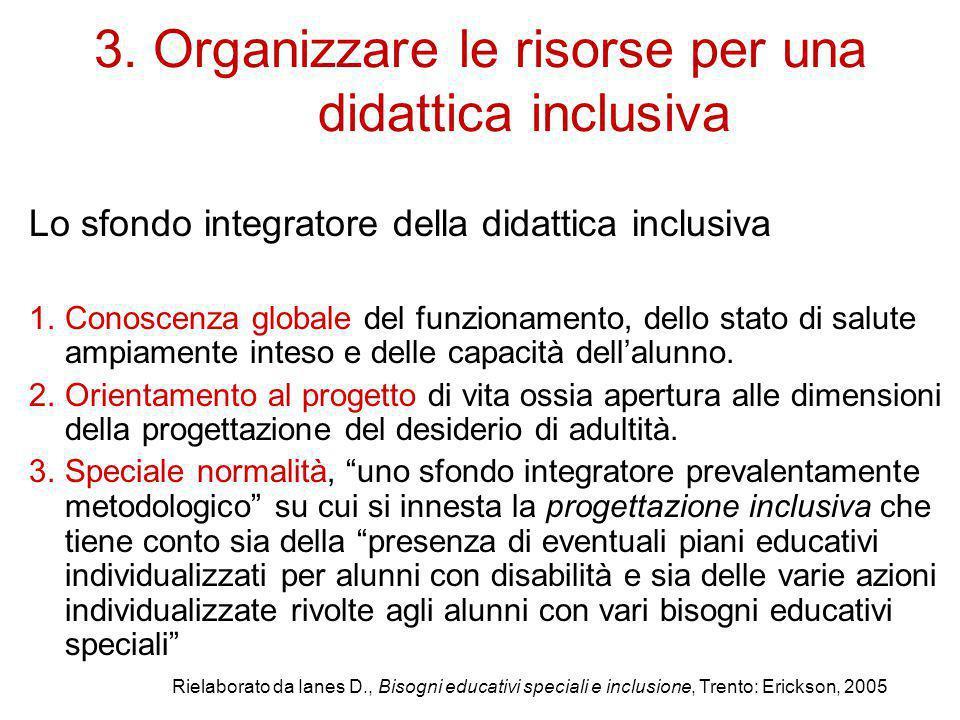 3. Organizzare le risorse per una didattica inclusiva Lo sfondo integratore della didattica inclusiva 1.Conoscenza globale del funzionamento, dello st