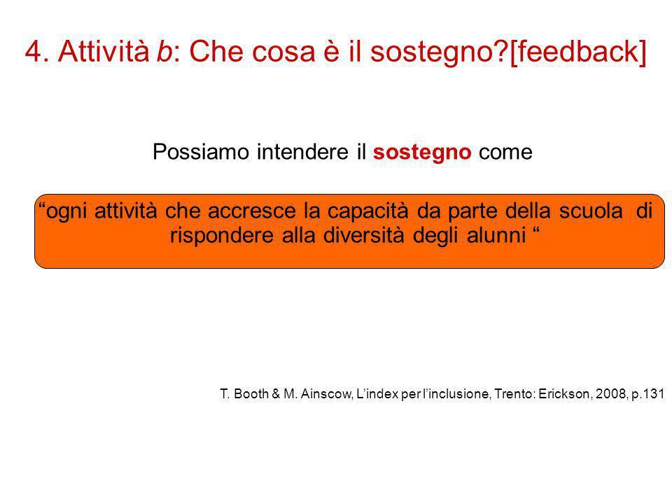 """4. Attività b: Che cosa è il sostegno?[feedback] Possiamo intendere il sostegno come """"ogni attività che accresce la capacità da parte della scuola di"""