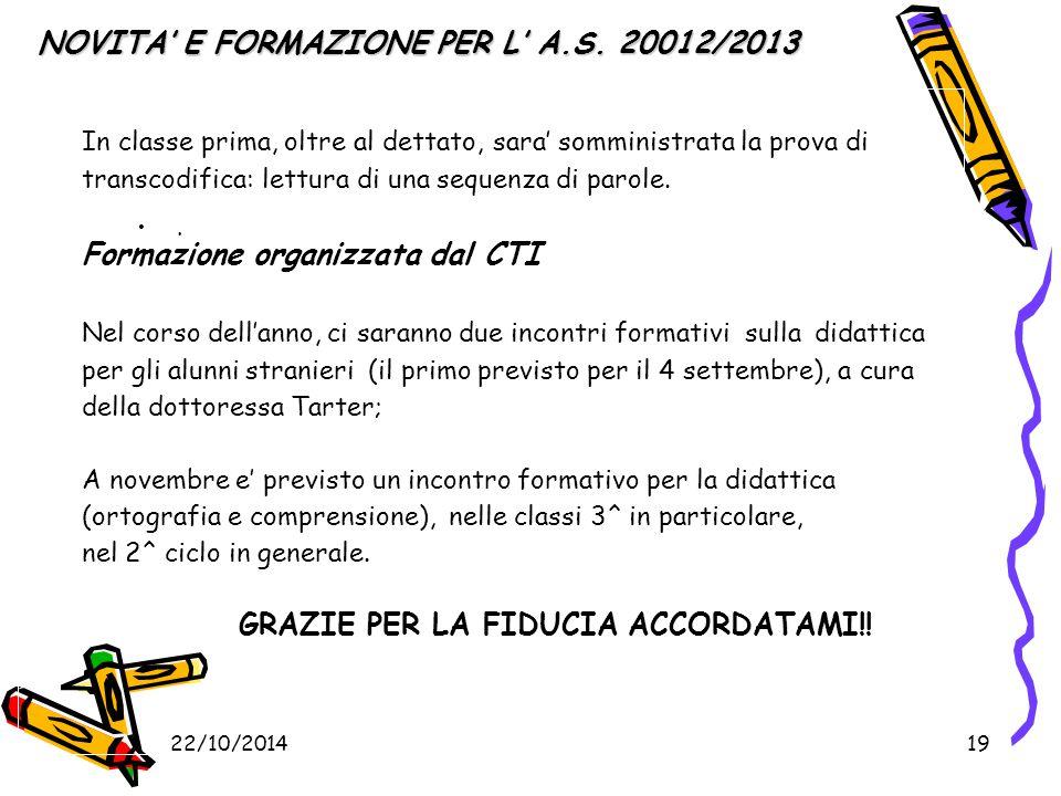 22/10/201419 NOVITA' E FORMAZIONE PER L' A.S. 20012/2013 NOVITA' E FORMAZIONE PER L' A.S.