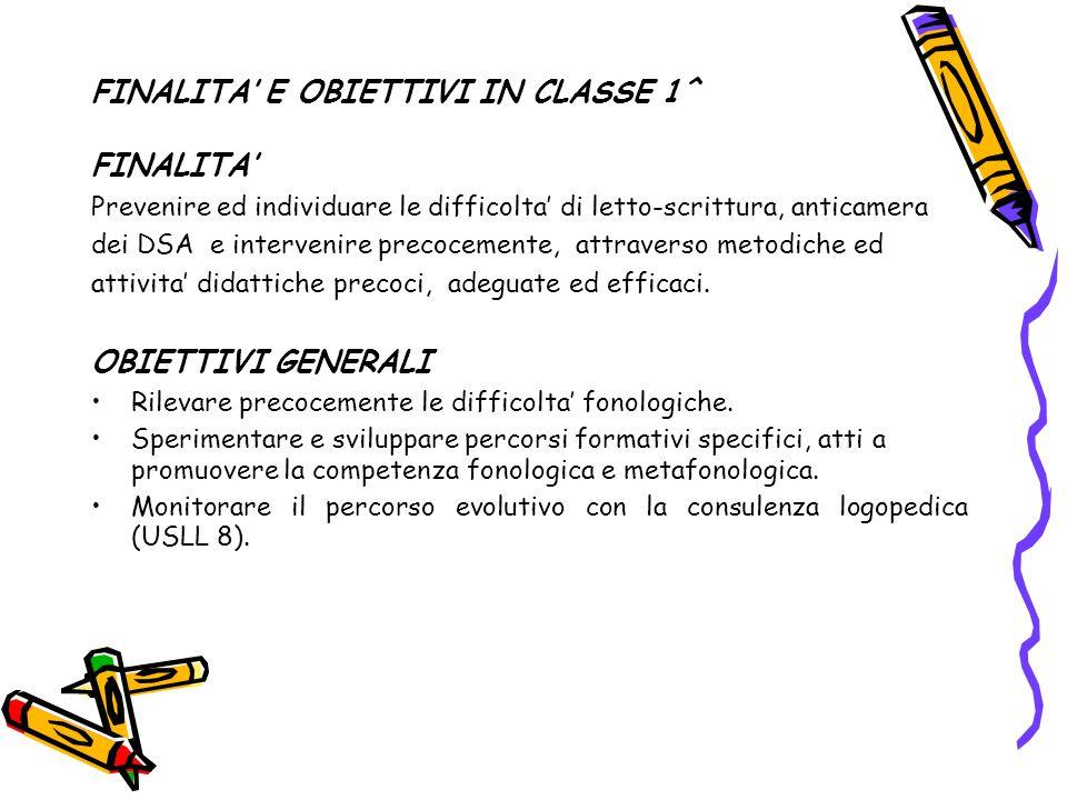 FINALITA' E OBIETTIVI IN CLASSE 1^ FINALITA' Prevenire ed individuare le difficolta' di letto-scrittura, anticamera dei DSA e intervenire precocemente