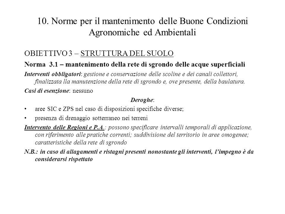 10. Norme per il mantenimento delle Buone Condizioni Agronomiche ed Ambientali OBIETTIVO 3 – STRUTTURA DEL SUOLO Norma 3.1 – mantenimento della rete d