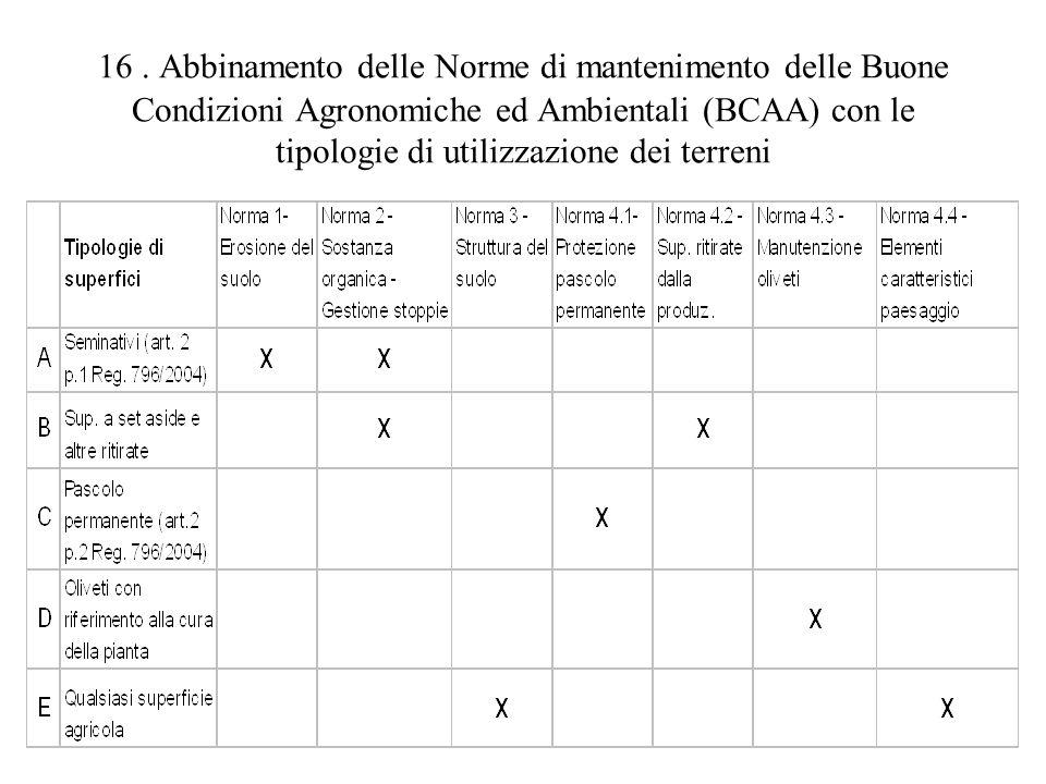16. Abbinamento delle Norme di mantenimento delle Buone Condizioni Agronomiche ed Ambientali (BCAA) con le tipologie di utilizzazione dei terreni