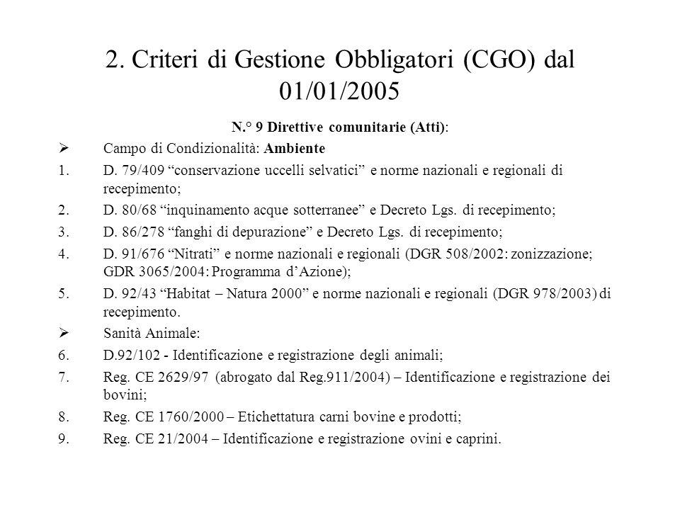 """2. Criteri di Gestione Obbligatori (CGO) dal 01/01/2005 N.° 9 Direttive comunitarie (Atti):  Campo di Condizionalità: Ambiente 1.D. 79/409 """"conservaz"""