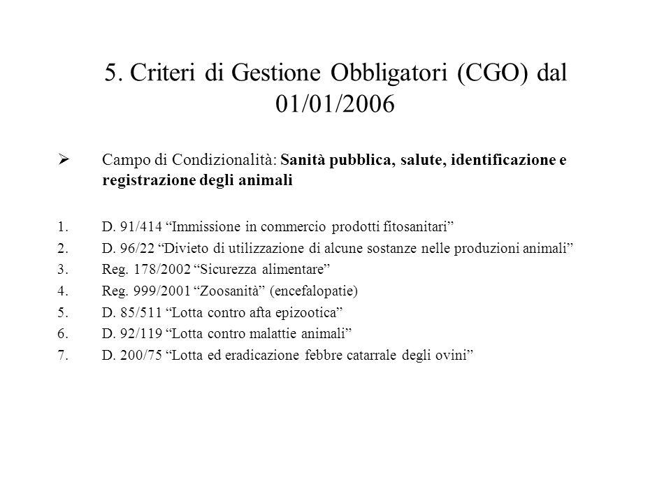 5. Criteri di Gestione Obbligatori (CGO) dal 01/01/2006  Campo di Condizionalità: Sanità pubblica, salute, identificazione e registrazione degli anim