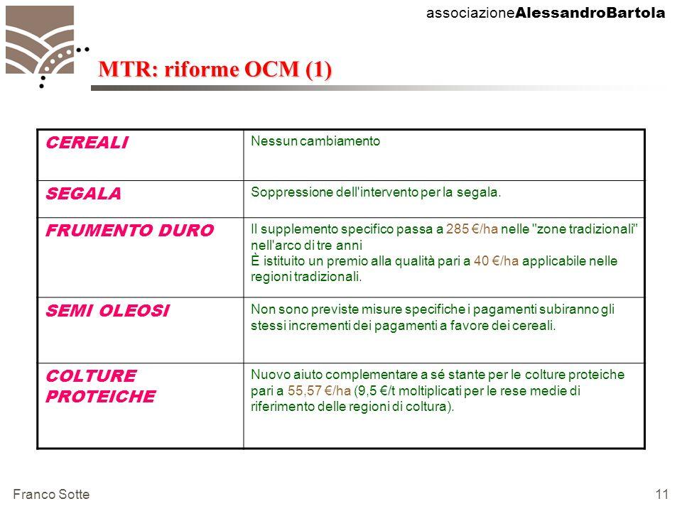 associazione AlessandroBartola Franco Sotte 11 MTR: riforme OCM (1) CEREALI Nessun cambiamento SEGALA Soppressione dell intervento per la segala.