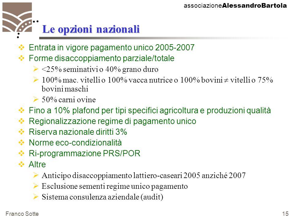 associazione AlessandroBartola Franco Sotte 15 Le opzioni nazionali  Entrata in vigore pagamento unico 2005-2007  Forme disaccoppiamento parziale/totale  <25% seminativi o 40% grano duro  100% mac.