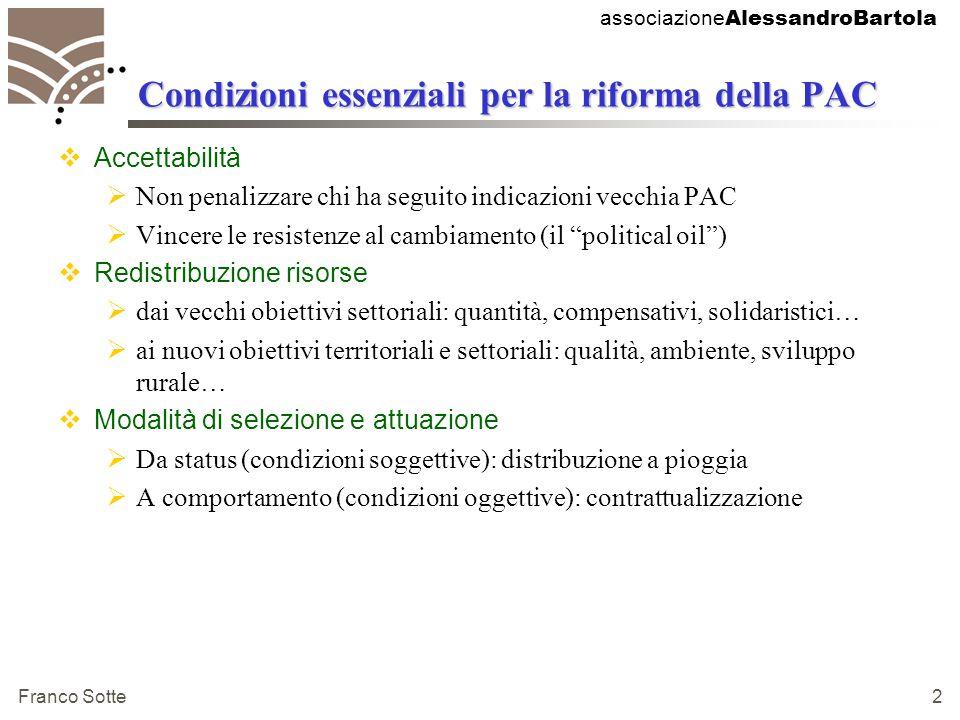associazione AlessandroBartola Franco Sotte 3 MTR: i sei punti chiave  Disaccoppiamento (decoupling)  Condizionalità ecologica (cross-compliance)  Modulazione  Disciplina finanziaria  Incremento del 2° pilastro della PAC (sviluppo rurale)  Riforma di alcune Ocm