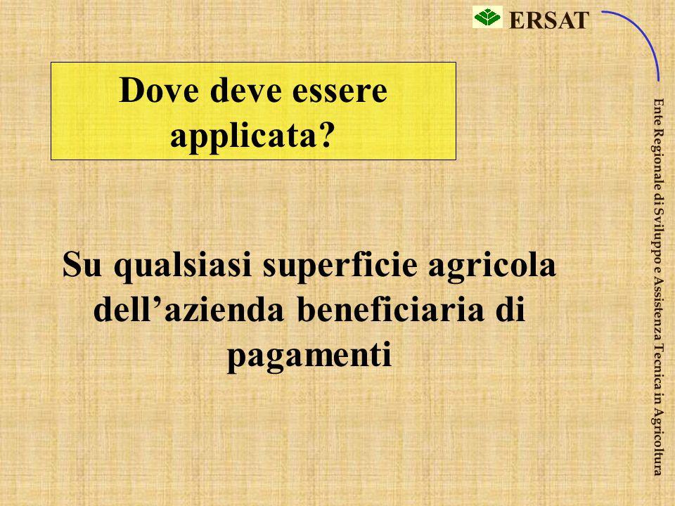 ERSAT Ente Regionale di Sviluppo e Assistenza Tecnica in Agricoltura La condizionalità riguarda tutti gli agricoltori che intendono beneficiare dei pa