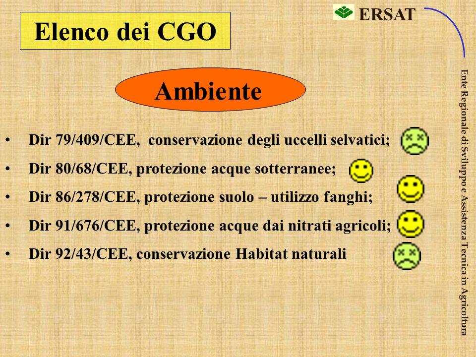 ERSAT Ente Regionale di Sviluppo e Assistenza Tecnica in Agricoltura I CGO sono raggruppati in tre settori omogenei: 1) Ambiente 2) Sanità pubb. 3) Ig