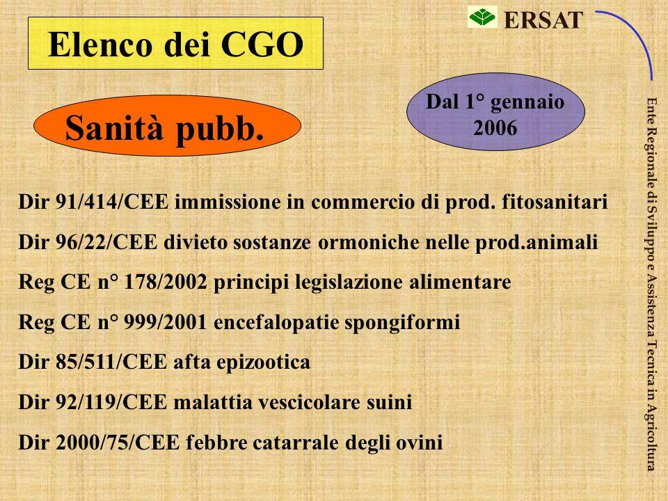 ERSAT Ente Regionale di Sviluppo e Assistenza Tecnica in Agricoltura Elenco dei CGO Sanità pubb. Dir 92/102/CEE, identificazione e registrazione anima