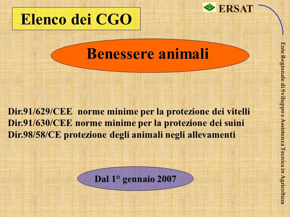 ERSAT Ente Regionale di Sviluppo e Assistenza Tecnica in Agricoltura Elenco dei CGO Sanità pubb. Dir 91/414/CEE immissione in commercio di prod. fitos
