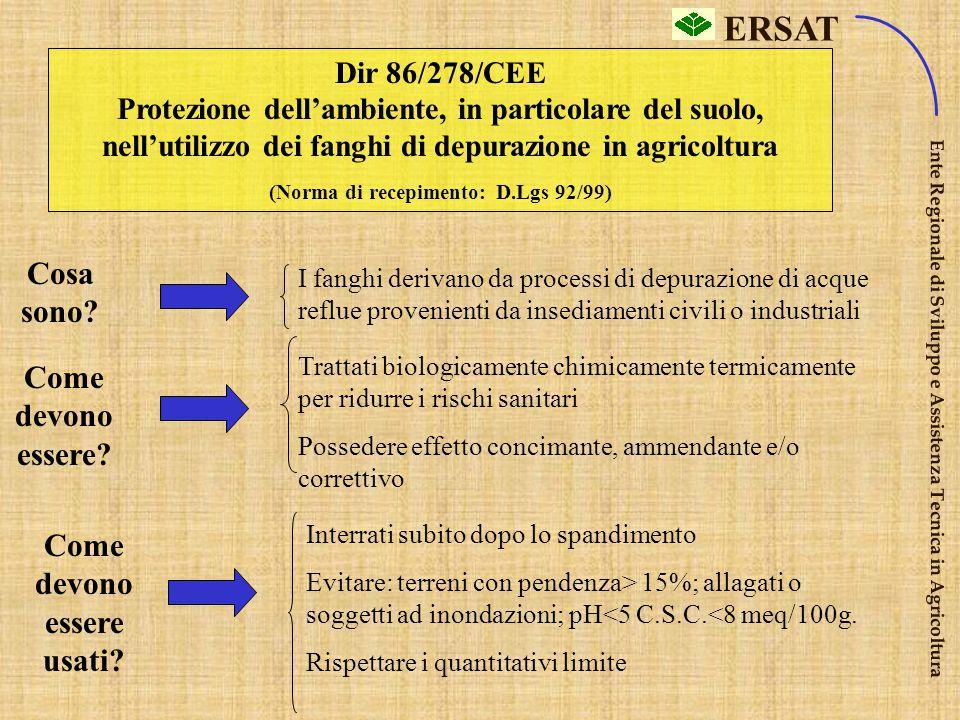 """ERSAT Ente Regionale di Sviluppo e Assistenza Tecnica in Agricoltura Dir 80/68/Cee (5) Protezione acque sotterranee dall' inquinamento provocato da """"c"""