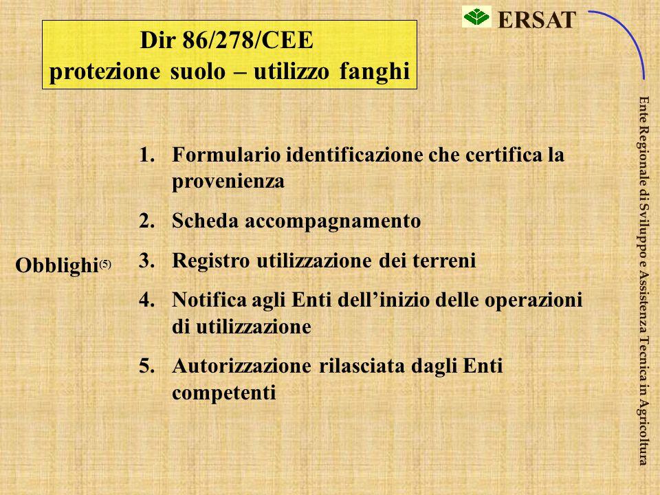 ERSAT Ente Regionale di Sviluppo e Assistenza Tecnica in Agricoltura Dir 86/278/CEE Protezione dell'ambiente, in particolare del suolo, nell'utilizzo