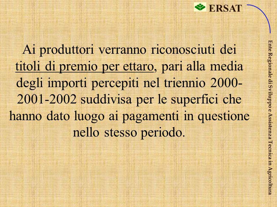 ERSAT Ente Regionale di Sviluppo e Assistenza Tecnica in Agricoltura … ma sarà legato ai premi assegnati nel triennio di riferimento 2000-2002 2000+ 2