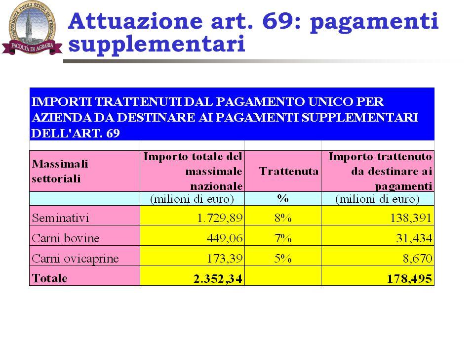 Attuazione art. 69: pagamenti supplementari