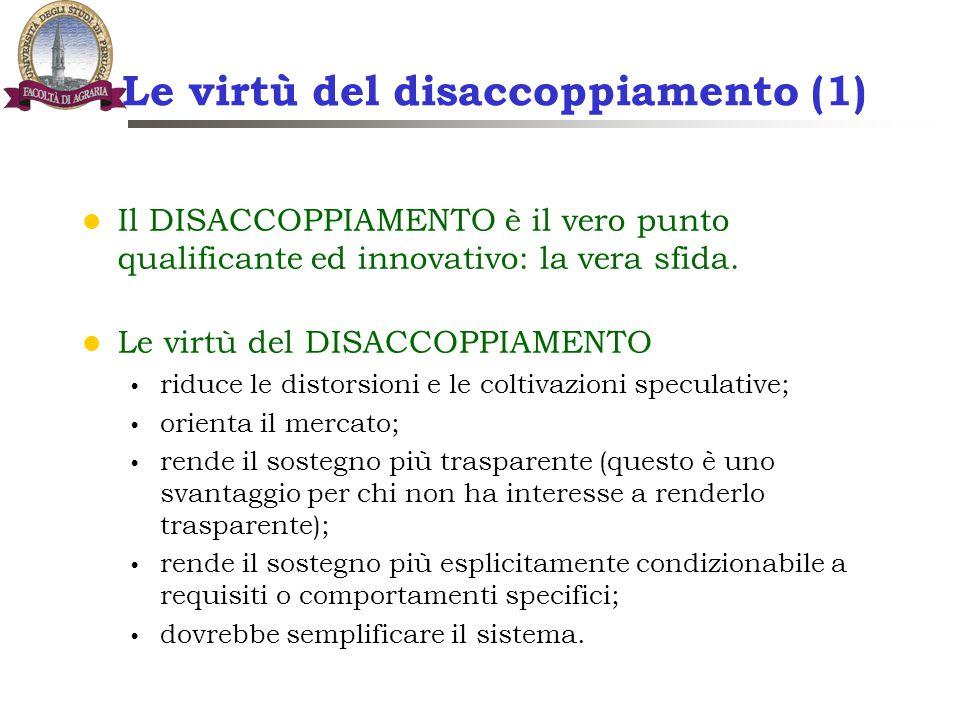 Le virtù del disaccoppiamento (1) Il DISACCOPPIAMENTO è il vero punto qualificante ed innovativo: la vera sfida. Le virtù del DISACCOPPIAMENTO riduce