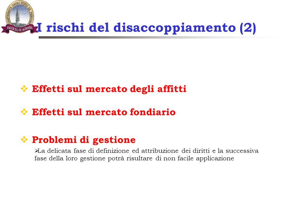 I rischi del disaccoppiamento (2)  Effetti sul mercato degli affitti  Effetti sul mercato fondiario  Problemi di gestione  La delicata fase di def