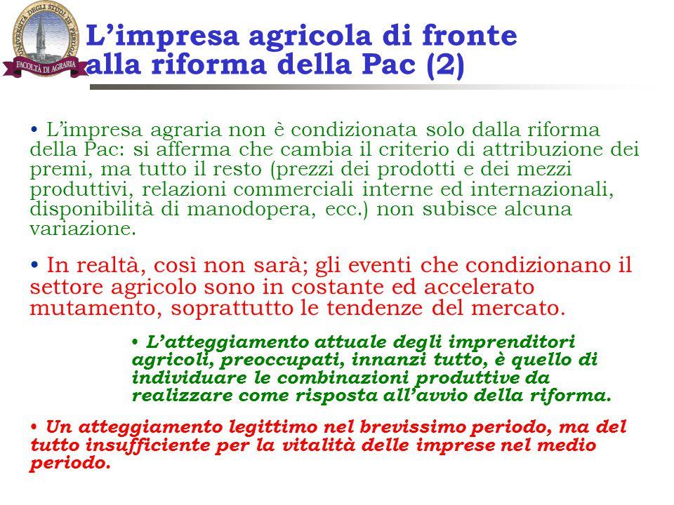 L'impresa agricola di fronte alla riforma della Pac (2) L'impresa agraria non è condizionata solo dalla riforma della Pac: si afferma che cambia il cr