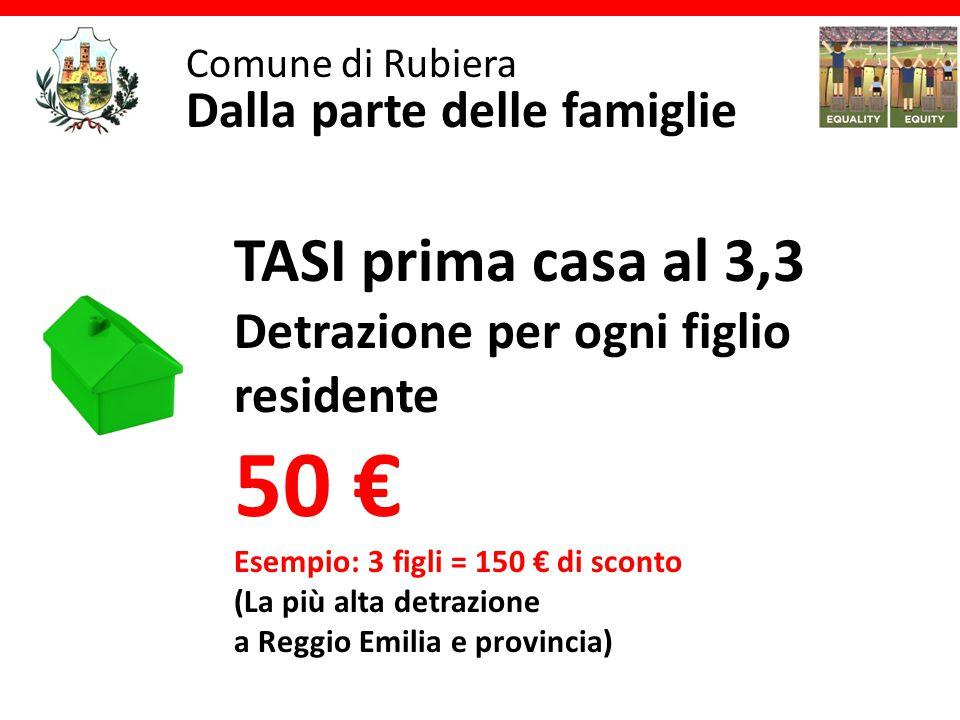 Comune di Rubiera Dalla parte delle famiglie TASI prima casa al 3,3 Detrazione per ogni figlio residente 50 € Esempio: 3 figli = 150 € di sconto (La più alta detrazione a Reggio Emilia e provincia)