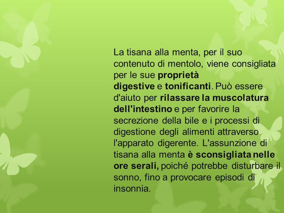 La tisana alla menta, per il suo contenuto di mentolo, viene consigliata per le sue proprietà digestive e tonificanti. Può essere d'aiuto per rilassar