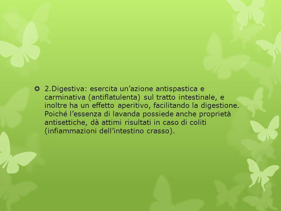  2.Digestiva: esercita un'azione antispastica e carminativa (antiflatulenta) sul tratto intestinale, e inoltre ha un effetto aperitivo, facilitando l