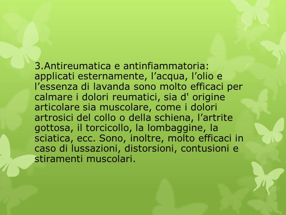 3.Antireumatica e antinfiammatoria: applicati esternamente, l'acqua, l'olio e l'essenza di lavanda sono molto efficaci per calmare i dolori reumatici,