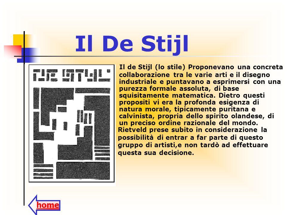 Il De Stijl home Il de Stijl (lo stile) Proponevano una concreta collaborazione tra le varie arti e il disegno industriale e puntavano a esprimersi co
