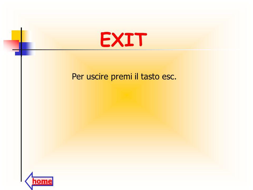 EXIT Per uscire premi il tasto esc. home
