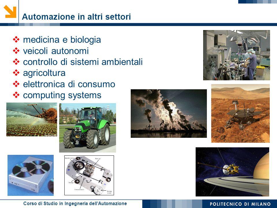 Corso di Studio in Ingegneria dell'Automazione  medicina e biologia  veicoli autonomi  controllo di sistemi ambientali  agricoltura  elettronica