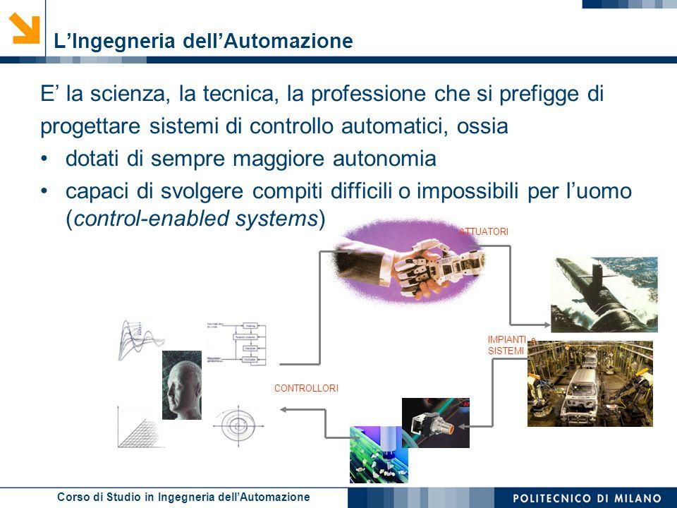 Corso di Studio in Ingegneria dell'Automazione L'Ingegneria dell'Automazione E' la scienza, la tecnica, la professione che si prefigge di progettare s